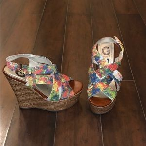 G By Guess Multi Colored Wedges Size 7